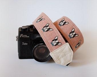 French bull dog camera strap, SLR DSLR camera strap, dog camera strap, gift for him, Nikon camera strap, Pink