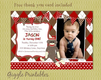 1st birthday invitations sock monkey birthday invitation sock monkey birthday invitations free thank you card included filmwisefo Image collections