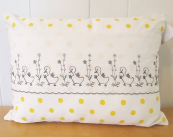 polka dot duck vintage fabric pillow 12x16