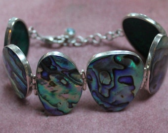 Abalone and Sterling Silver Bracelet/Abalone Link Bracelet/Abalone Shell Link Bracelet Set in Sterling Silver