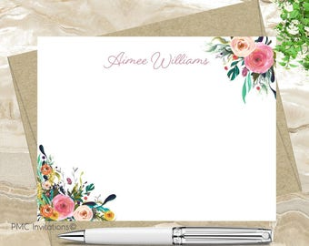 Custom Note Cards, Personalized Stationery Set, Watercolor Personalized Stationery, Watercolor Floral, Floral Notecard Set, FREE SHIPPING