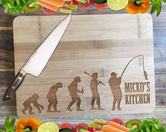 A Fisherman's Kitchen - Personalised Engraved Bamboo Chopping Board