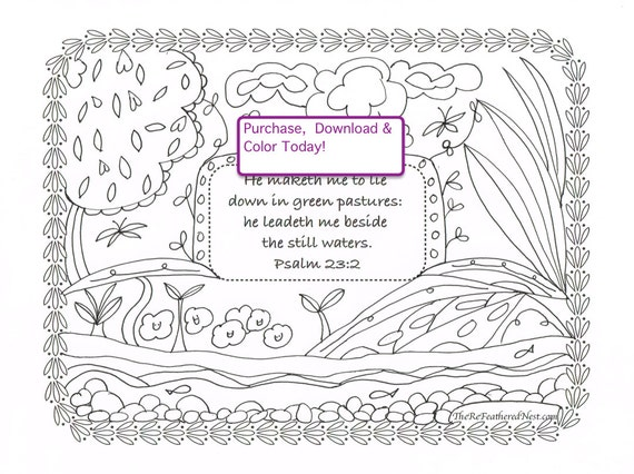 Psalm 23:2 Downloadable Scripture Coloring Page