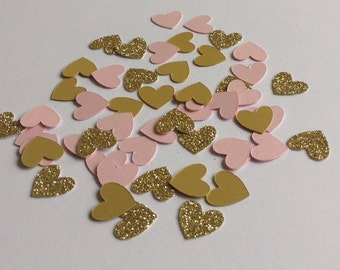 Pink and Gold Heart Confetti, Birthday, Wedding, Party Table Confetti