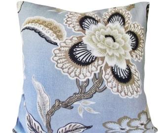 Schumacher Hothouse Flowers Mineral Decorative Pillow Cover - Celerie Kemble - Solid Linen Back - 12x20, 14x24, 16x16, 18x18, 20x20, 22x22