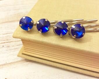 Rhinestone Hair Pins, Blue Hair Pins, Rhinestone Bobby Pins in Blue, Blue Rhinestone Bobby Pin Set, KreatedbyKelly