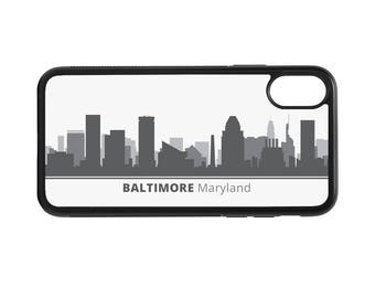 Baltimore Maryland Skyline Personalized Phone Case - iPhone X 8 7 6 Plus, 5 5c SE, Galaxy S8 S8 Plus S7 S6 Edge S5, rubber cover, MD