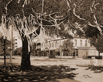 Toomers Corner Sepia Made from the Original Watercolor by Michael Joe Moore