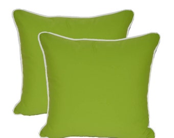 "Set of 2 ~  20"" Sunbrella Canvas Macaw Green with White Piping / Cording Decorative Throw Pillows ~ Indoor / Outdoor Fabric"