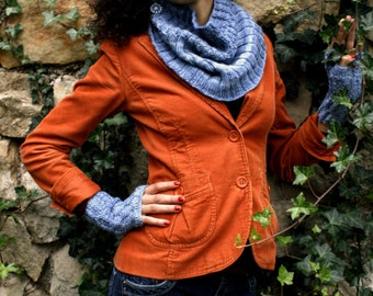 Knitting Pattern for Tapered Knit Seamless Cowl with Matching Fingerless Mitts Set in Worsted Weight
