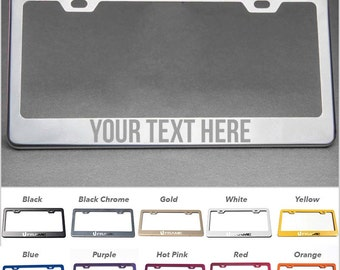 Font3 Personalized Laser Engraved Marking 100% Stainless Steel License Plate Frame Holder 10 Color to Choose