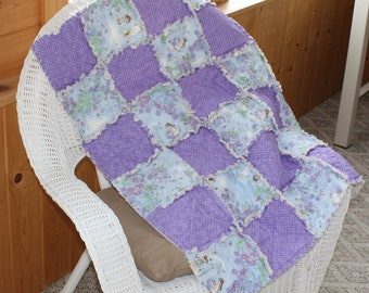 Rag Girl Quilt, Baby Quilt, Girl Blanket, Fairies, Purple, Fairytale, Flowers, Polka Dots