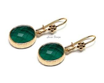Earrings with Emerald crystal jewel, emerald, boho, modern, high fashion, rocker, party, dangle, - Free shipping!