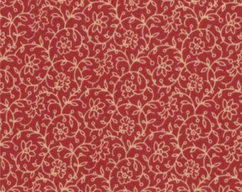 16 INCHES REMAINING French General Favorites Red Cream Designed by French General for Moda Fabrics 100% Cotton #13607 17