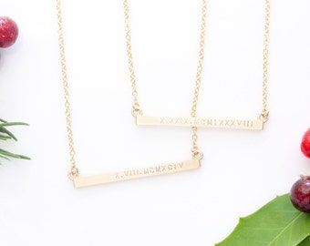 Solid 14K Gold Bar Necklace, Custom Gold Bar Necklace, Roman Numeral Handstamped Jewelry, Personalized Anniversary Mothers Day Jewelry