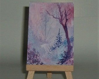 fantasy woodland art painting aceo original (ref E183)