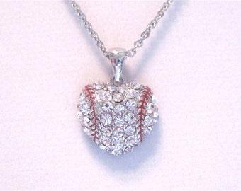 "Baseball Heart Necklace. "" Love Baseball """