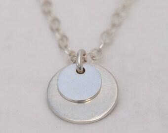 Sterling Silver Dot Necklace, Tiny Silver Necklace, Silver Circle Pendant, Moon Pendant, Silver Coin Pendant, Silver Dot Necklace, Disc