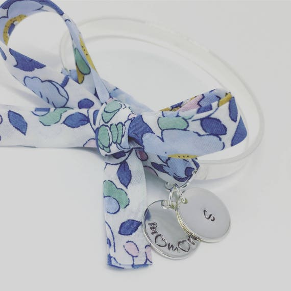 BETSY DENIM - Cuff Bracelet Bangle with its Liberty Betsy Denim bow and 2 medals with custom engraving