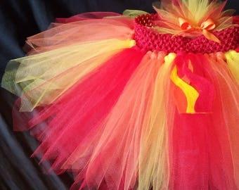 BanAnnaz Custom Crafts, Fire tutu w/matching hair piece, fire costume, camp fire costume, flames tutu, fire rave tutu, faire racer tutu, hot