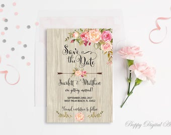 Rustic Save The Date Printable Floral Save The Date Card Boho Save Our Date Save The Date Template Wedding Card