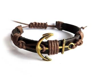 Nautical bracelet, men's bracelet, leather, rope, anchor bracelet, bronze, sailor bracelet, navy,