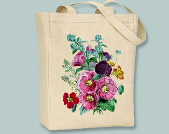 Beautiful Vintage Hollyhocks Canvas Tote -- Selection of sizes available