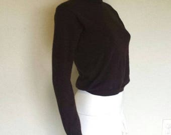 Dark brown merino wool mock neck knit sweater  Sz small