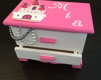 Girls Jewelry Box, Girls Christmas Gift, Pink Customized Jewelry Box, Personalized Jewelry Box, Girls Jewelry,Jewelry Box, Girls Jewelry