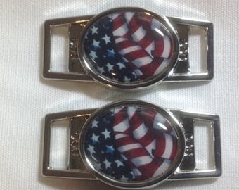 American Flag waving Paracord  Shoe lace charm of two (2) of your choice oval or rectangle
