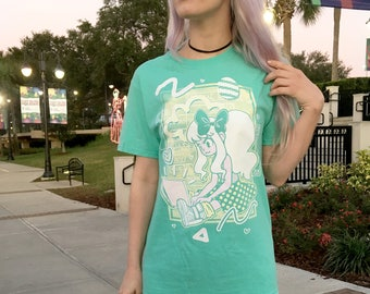 Mint Computer Girl in Hightop Sneakers Shirt **FREE SHIPPING**