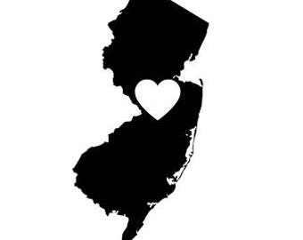 New Jersey Silhouette with Heart SVG