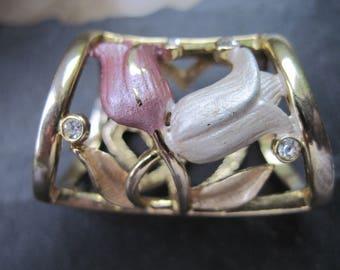 Schalring Strasssteine / Schalring Blumen / Schalring Herzen / Schalring golden / Schalschließe golden / Tuchring / gold / Strasssteine