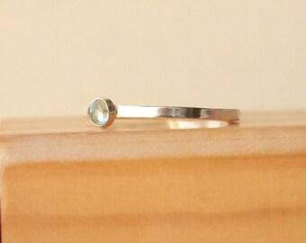 Aquamarine Ring - Silver Birthstone Ring - March Birthstone Jewelry - Blue Aquamarine - Gemstone Solitaire - Stacking Birthstone Ring