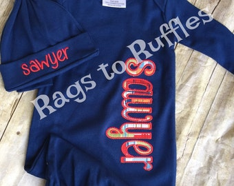 Baby Boy Coming Home Outfit - Personalized Infant Gown- Monogrammed Baby Gown