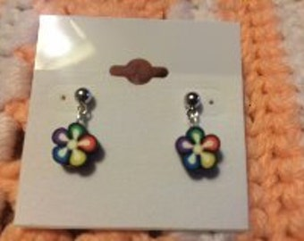 Colorful Flower Post Earrings Polymer/Fimo