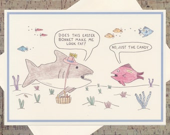 Easter Card, Easter Greeting Card, Easter Greetings, Shark Card, Funny Easter Card, Happy Easter Card, Cute Easter Card, Easter Bonnet