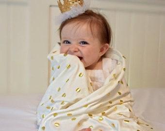 MD SALE Gold dots Swaddling Blanket, Receiving Blanket, Cuddle Blanket