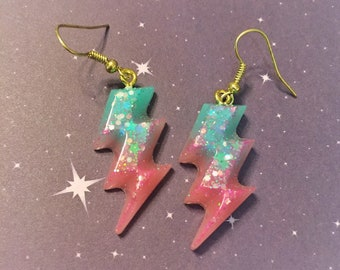 80s Inspired Lightening Bolt Earrings, kawaii glitter resin