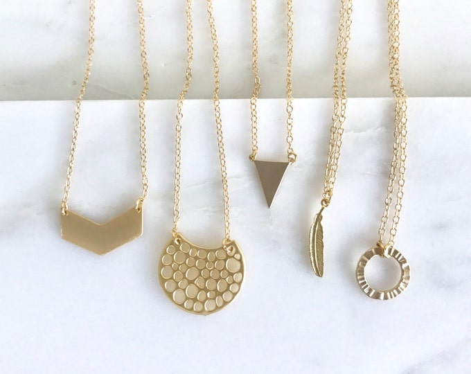 Layering Necklace. Gold Charm Layering Necklace. Charm Necklace. Layered Necklace. Gold Necklace. Chevron Necklace. Layered Necklace.