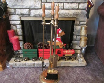 vintage  Brass  FIREPLACE TOOL SET  ; shovel . broom, and poker in stand. Fpl -1