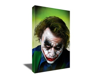 FREE SHIPPING Heath Ledger in The Dark Knight as Joker Canvas Art