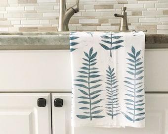 Tea towel, Walnut dish towel, Hand printed dish towel, flour sack towel, block print towel, hostess gift, gift for her, gift for mom