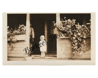Vintage Photo Download - Toddler on the Porch Vintage Photograph - Vintage Baby Pictures
