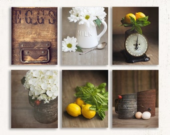 Set of SIX Farmhouse Prints, Farmhouse Wall Art, Rustic Yellow Wall Decor, Kitchen Wall Art, Country Kitchen Decor, Canvas Kitchen Art