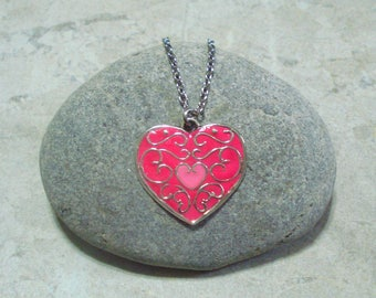 Pink Heart Necklace Pendant Antique Silver