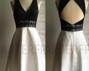 Short black et white Bridesmaid Dress, Taffeta Party Dress, Open back Formal Dress, Cocktail Dress, V  Neck Ball Dress, Knee Length