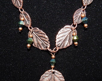 Necklace Copper Seven Leaf  #197 One Of A Kind