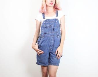 Vintage Soft Grunge Overalls 1990s Shorts Overalls Blue Jean Jumper Romper Shortalls 90s Coveralls Squeeze Jeans Denim Playsuit S M Medium