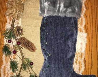 Soft Blue Holiday Stocking